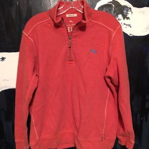 Coral red Tommy Bahama quarter zip